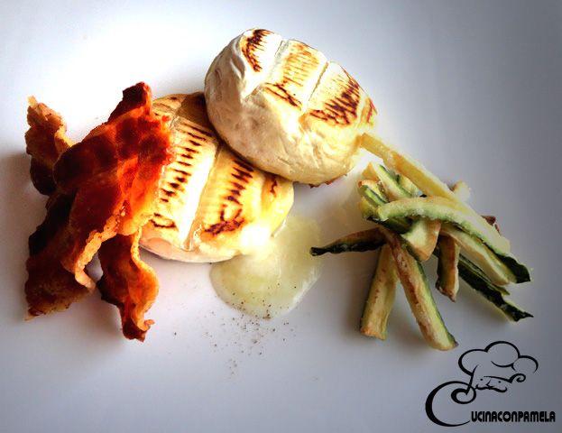 Tomino grigliato con stick di zucchine e bacon croccante 2