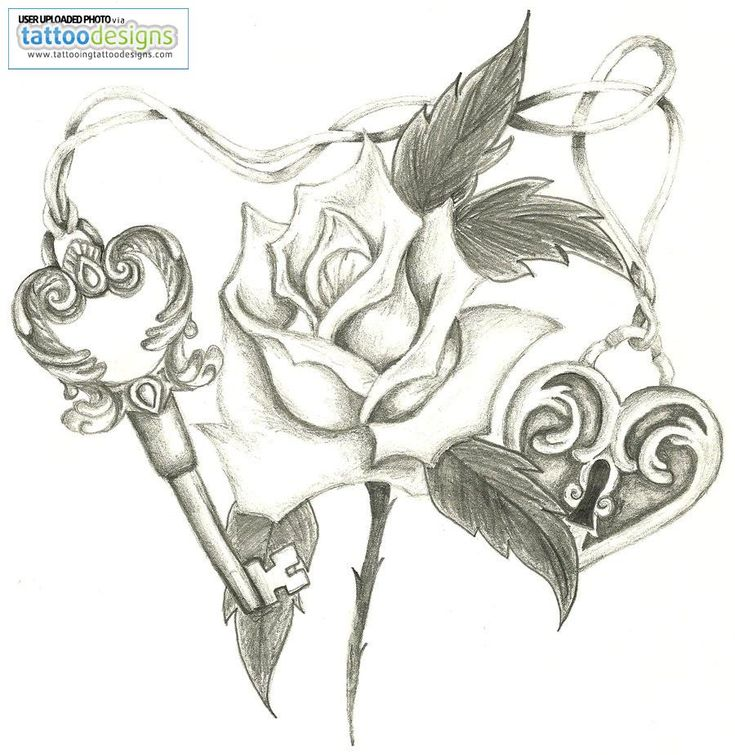 Heart Lock Skeleton Key Rose By Holliewood Image Tattooing Tattoo Design 900x924 Pixel