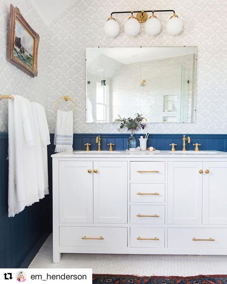 Panelling Ideas a great way to bring a splash of Colour to the room. #inspire #Repost @em_henderson (@get_repost)  Its good to list things that make you feel happy on days like today. Our master bathroom makes me happy. There. Now your turn  :)  @tessaneustadt