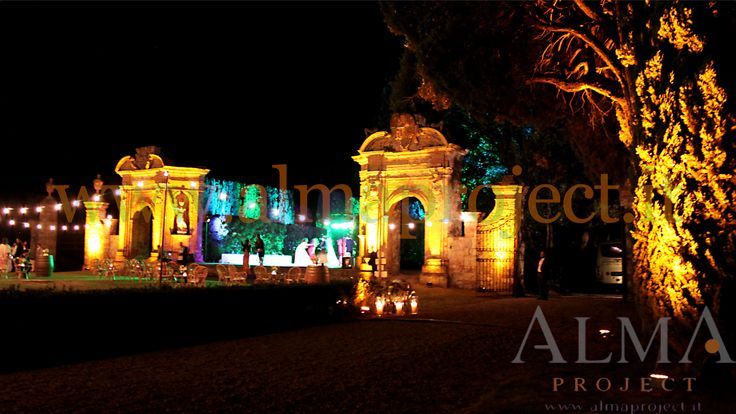 ALMA PROJECT @ Villa di Geggiano - bulbs lighting - garden - amber uplights - 223