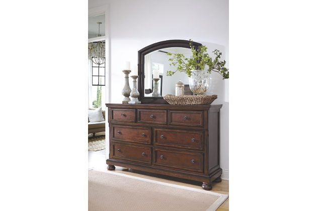 Rustic Brown Porter Dresser And Mirror View 1 Bedroom