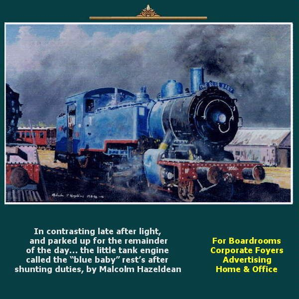 "In contrasting late after light, and parked up for the remainder of the day… the little tank engine called the ""blue baby"" rest's after shunting duties, by Malcolm Hazeldean https://www.youtube.com/watch?v=s1rg_kixu_w greatvideo@yahoo.com.au"