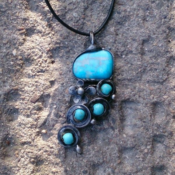 Metal necklace with Gemstone colored magnesite from Helenamode by DaWanda.com