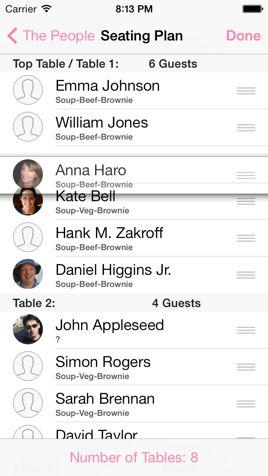 Seating Planner - iWedding Deluxe - iOS 7 wedding planner