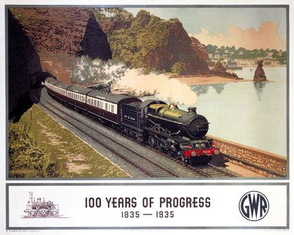 """100 Years of Progress, 1835-1935"", Great Western Railway (GWR), 1935. Artist: Murray Secretan. King Class 4-6-0 locomotive No 6009 King Charles II with the Cornish Riviera Express emerging from Shell Cove tunnel at Dawlish, Devon. Below is the caption, and at left a line illustration of the Great Western Railway broad gauge locomotive ""North Star"" of 1837."