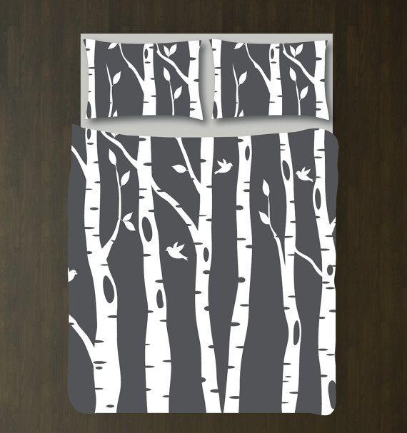 Custom Birch Tree Duvet Cover and Shams by GatheredNestDesigns