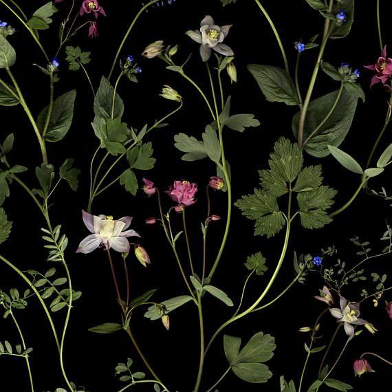Donkere botanische bloemen stof voor bekleding zachte