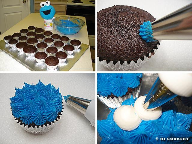 Cookie Monster Cupcakes..love the tutorial