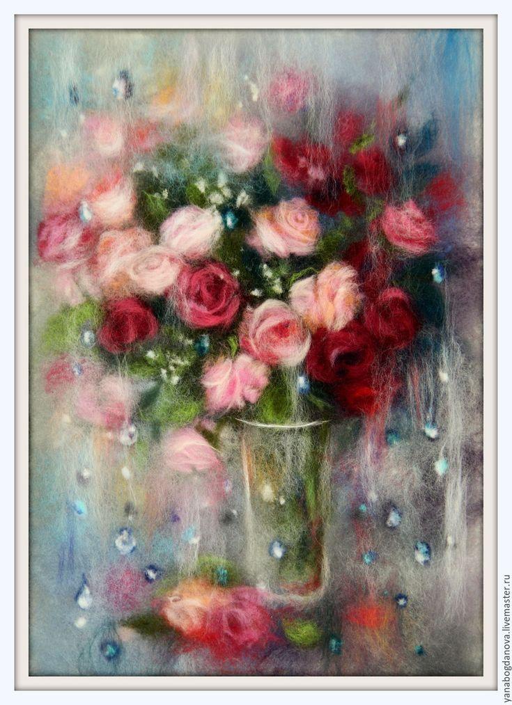 Купить Мокрые розы Картина из шерсти - розовый, картина из шерсти, живопись шерстью, шерстяная живопись