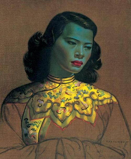 Chinese Girl, Yellow Jacket by Vladimir Tretchikoff  My grandma use to have this hanging on the wall over her sewing machine