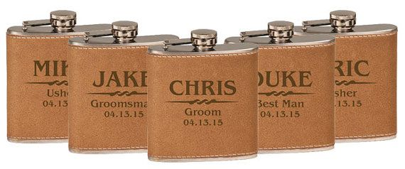 Groomsmen Gift, Flask Gift - 1 Personalized Flask, Engraved Flask, Wedding Party Flasks, Hip Flask, Groomsmen Flask, Leather Flask $12.99/Each