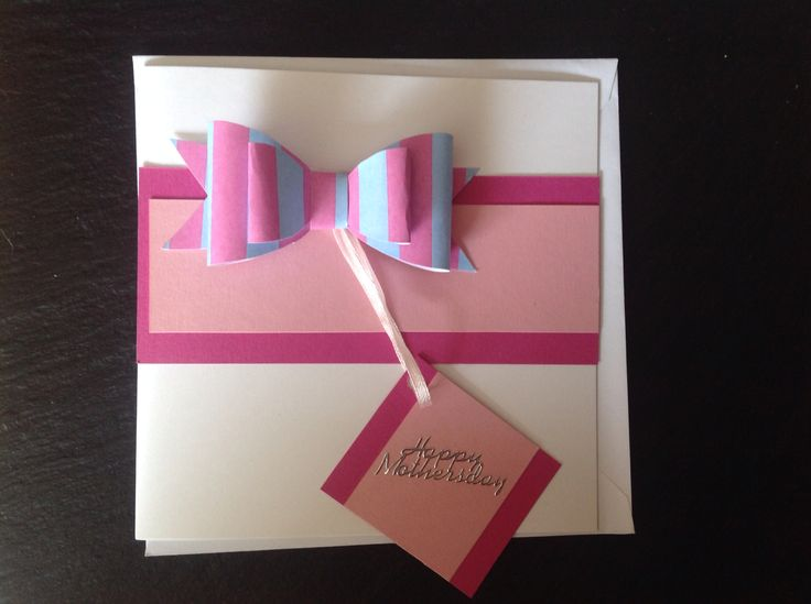 #Happy #Mother's #Day #card #cards #happymothersday #bow #paperbow #tag #lightpink #pink