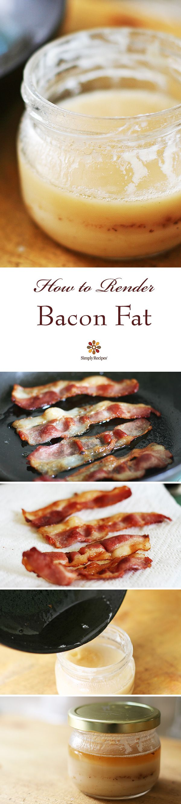 Rendering Bacon Fat ~ A guide for how to render bacon fat for use in cooking. ~ SimplyRecipes.com