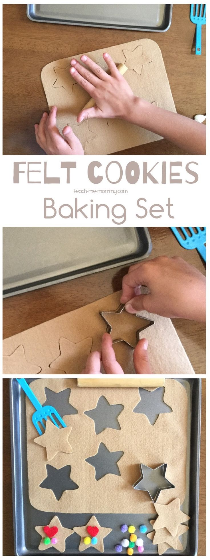 Make a batch of these sweet felt cookies with your little bakers! A sweet way to work on fine motor skills, counting or just enjoying pretend play during quiet time. #busybags #pretendplay