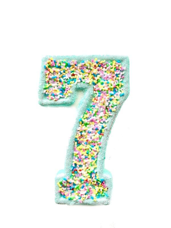 Mint Glitter Sprinkle Number 7 Birthday Candle