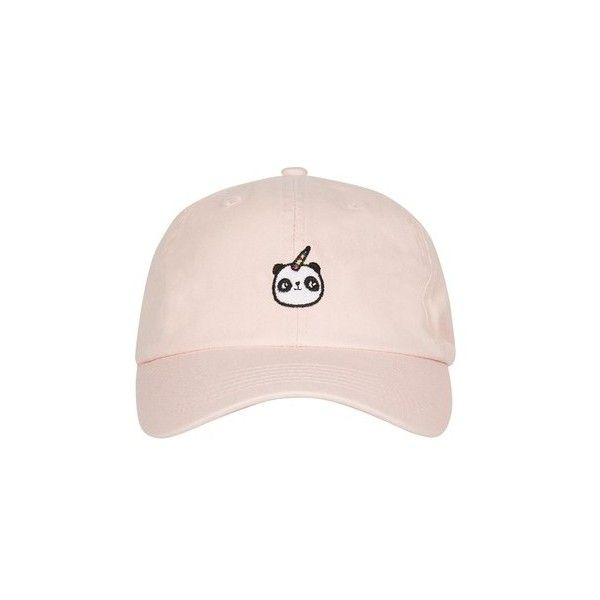 Topshop Pandacorn Embroidered Cap (49 BRL) ❤ liked on Polyvore featuring accessories, hats, pale pink, cotton cap, topshop hats, embroidery hats, cap hats and embroidered hats