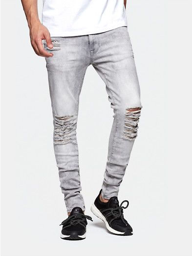 skinny jeans with rips lightgrey
