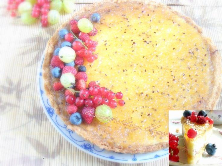 agrestowy ( ciasto kruche, masa serowa z białą czekoladą, marmolada agrestowa)