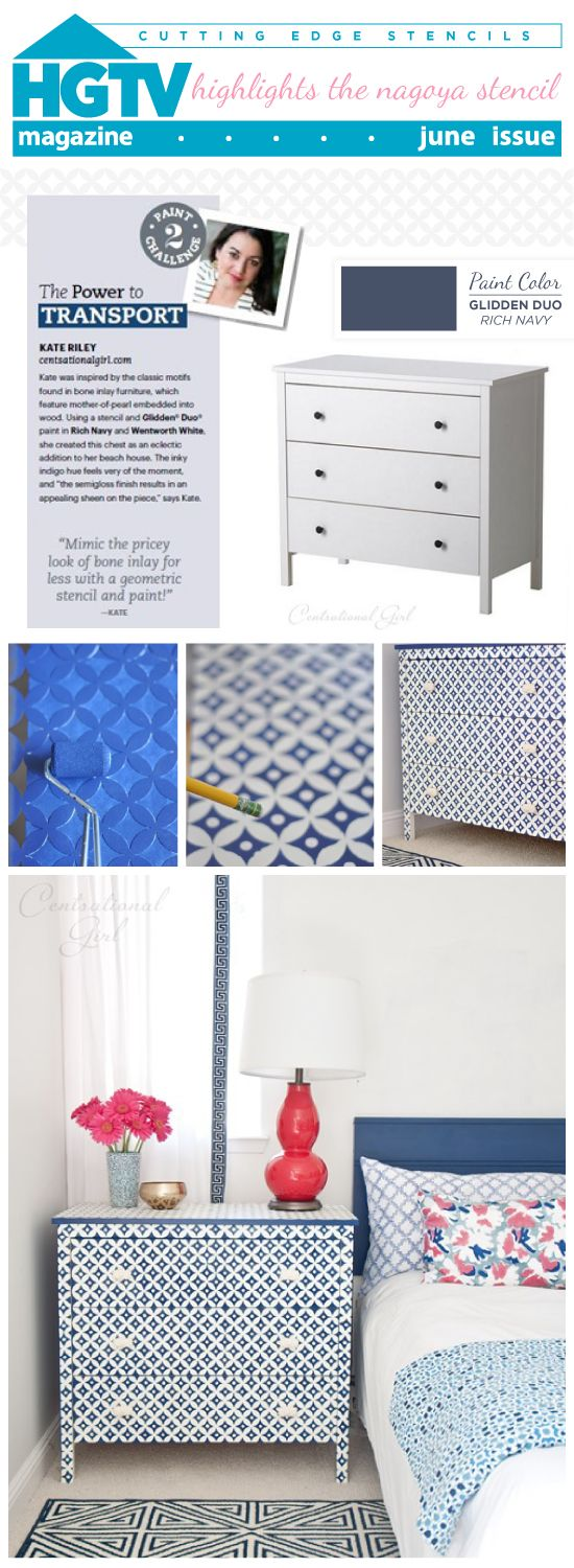 hgtv magazine features awesome diy projects including a bone inlay stenciled dresser using cutting edge nagoya pattern