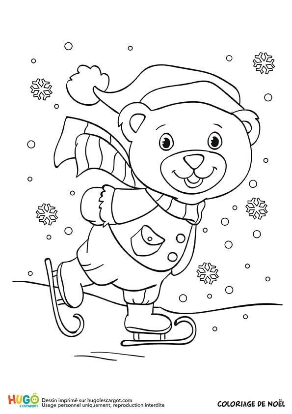 Coloriage et illustration d\u0027un petit ourson qui patine sur un lac