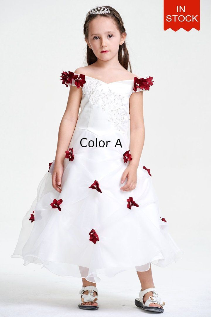 20560c515d9 Appliques Organza Flower Girl Dress with Hand Flowers  flowergirl  weddings