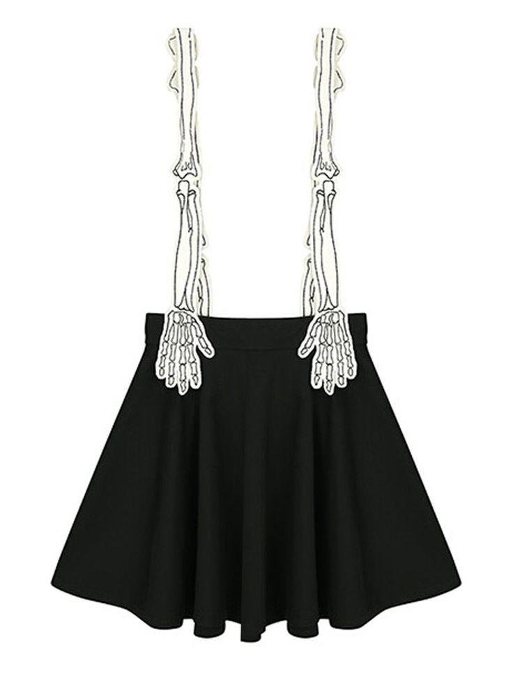 Black Contrast Skeleton Hand Shoulder Strap Pleat Overall Skirt | Choies