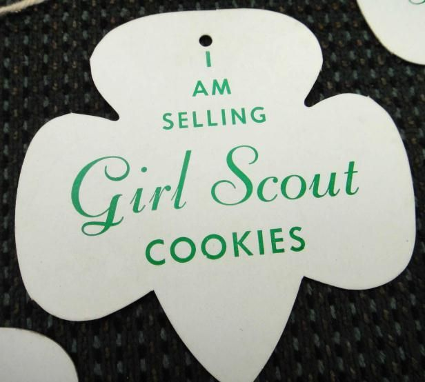 LOT vintage 10 GIRL SCOUT COOKIE NAME TAGS 45cents/box