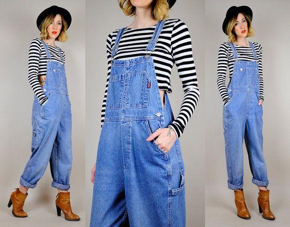 Vintage OVERSIZED denim OVERALLS 90u0026#39;s jean Pants romper dungarees Bibs Suspender O/S | Rompers ...