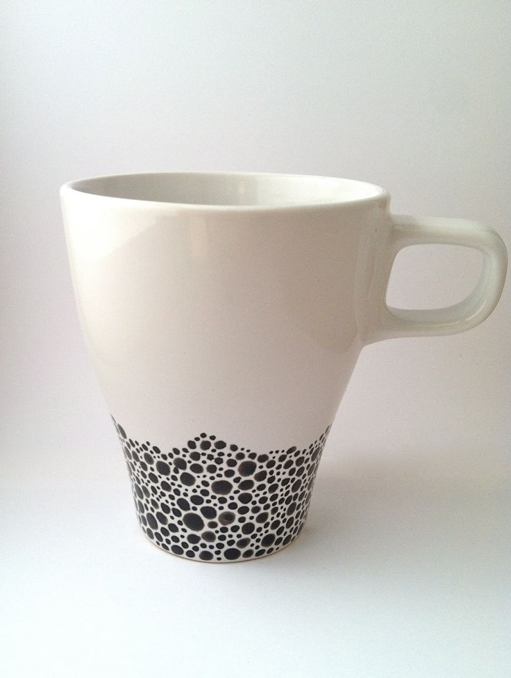 Hand-painted Coffee Mug - Black & White more dots!
