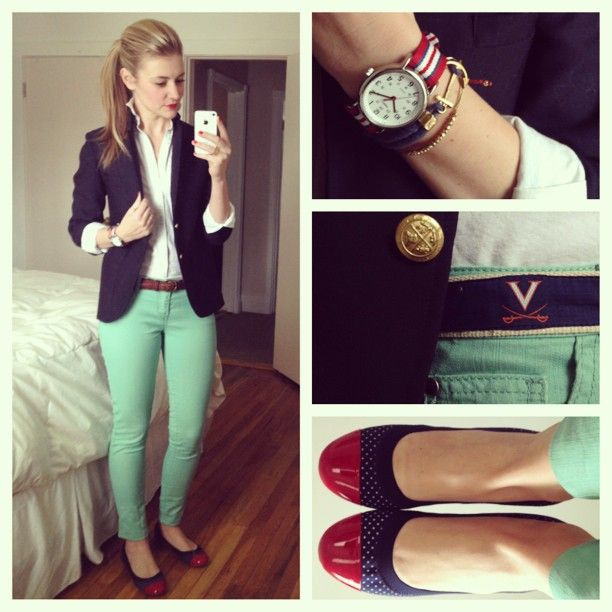 Mint Jeans + White button down + navy blazer. I'm thinking I need some mint jeans/slacks and a navy blazer.