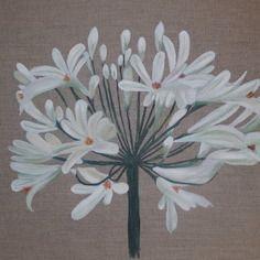 Tableau fleur d' une agapanthe blanche peinte sur du lin