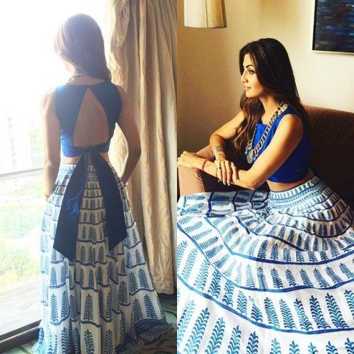 Shilpa Shetty in a Blue Anita Dongre Lehenga