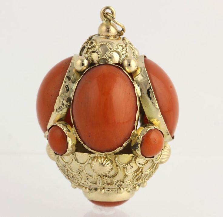Etruscan Fob Pendant Coral Cabochon 18K Yellow Gold High Karat Ornate Chunky | eBay