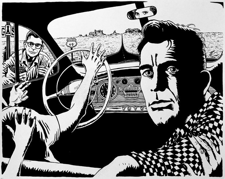 Current exhibition: Neal Fox – Lust for Life Today with Jack Kerouac on the road, and Allen Ginsberg hitchhiking...  Neal Fox, Nowhere To Go But Everywhere, 2015 Ink on paper/Tusche auf Papier, 122 x 152,5 cm