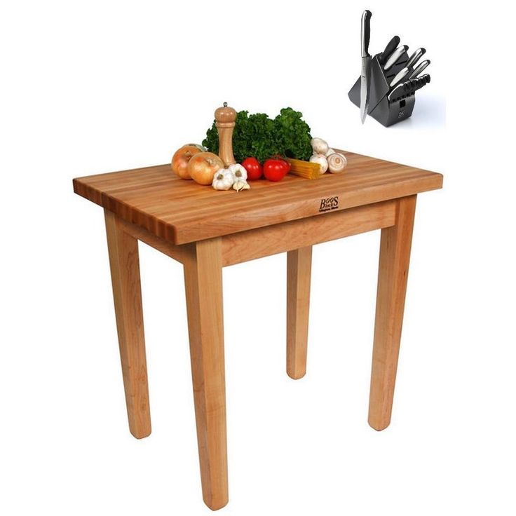 John Boos C11C Country Maple 60x36x35 Work Table with Casters and Henckels 13-piece Knife Block Set