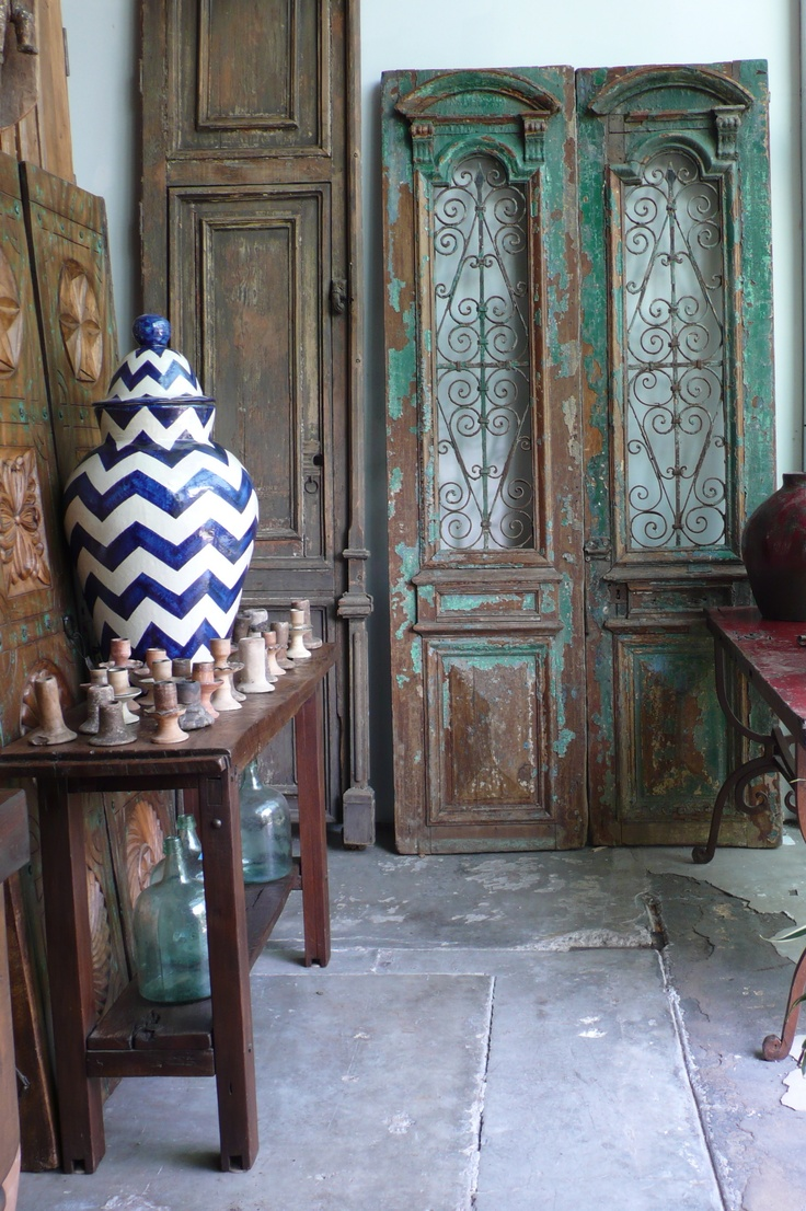 Antique doors and chevron patterned pottery at our warehouse in Newbury  Park California - 18 Best Antique Mexican Doors Images On Pinterest Mexican, Gate