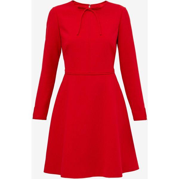 Ted Baker Bow detail midi dress (1,045 SAR) ❤ liked on Polyvore featuring dresses, midi dress, longsleeve dress, long sleeve midi dress, red dress and red midi dress