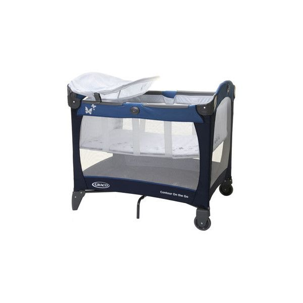 Buy your Graco Contour On The Go Travel Cot - Butterfly Blue reviews... ($21) ❤ liked on Polyvore featuring baby