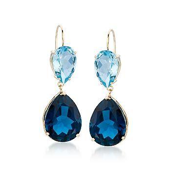 Dazzling London Blue Topaz Dangle Earrings In 14kt Yellow Gold.