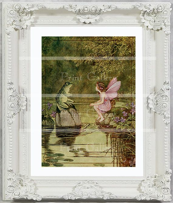 Fairy Print Girl Bedroom Baby Victorian Nursery Wall Altered Art Decor Vintage Picture Frog Shabby Chic Princess Antique Painting ff 105 via Etsy