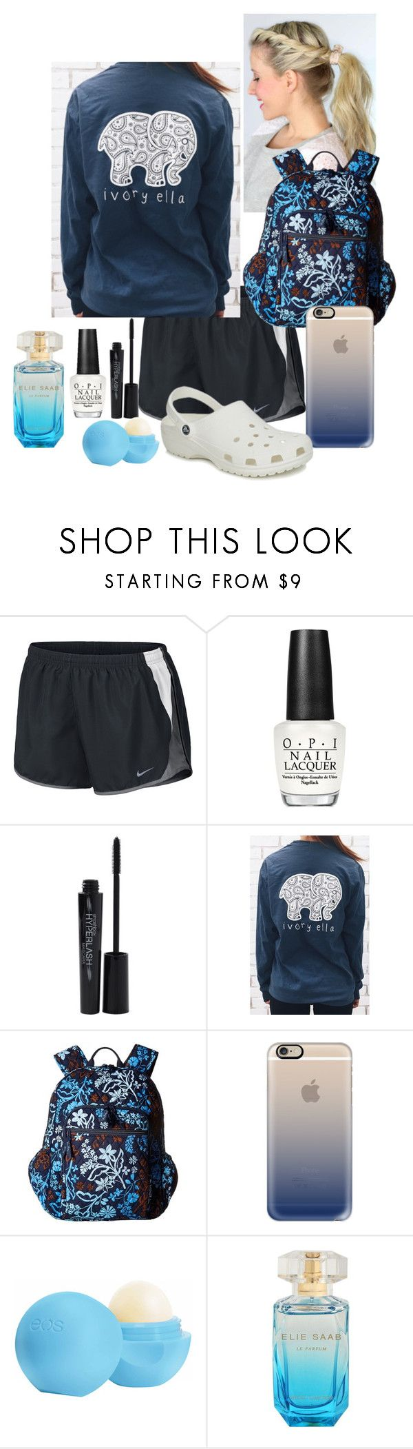 """""""Ivory Ella"""" by nknudson-04 on Polyvore featuring NIKE, OPI, Smashbox, Vera Bradley, Casetify, Eos and Crocs"""