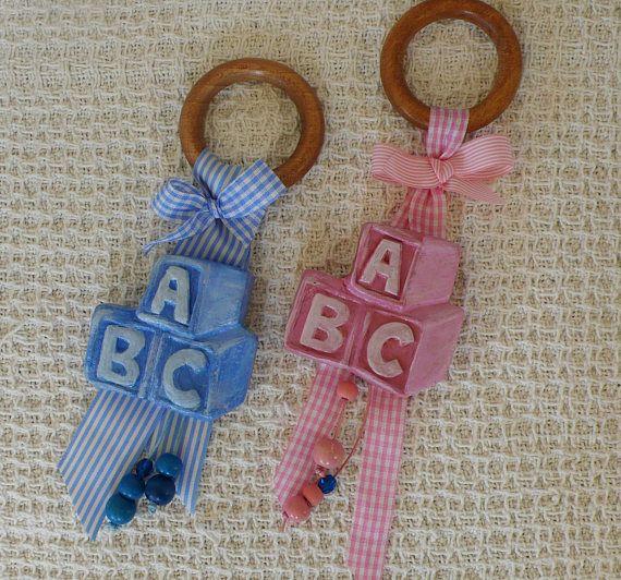 Welcome Baby Gift,Luck, Handmade Nursery Decor,  A B C Baby Cubes ,Baby Born,Baby Boy,Baby Girl, Pink,Light Blue, Ribbon, Baby basket,birth