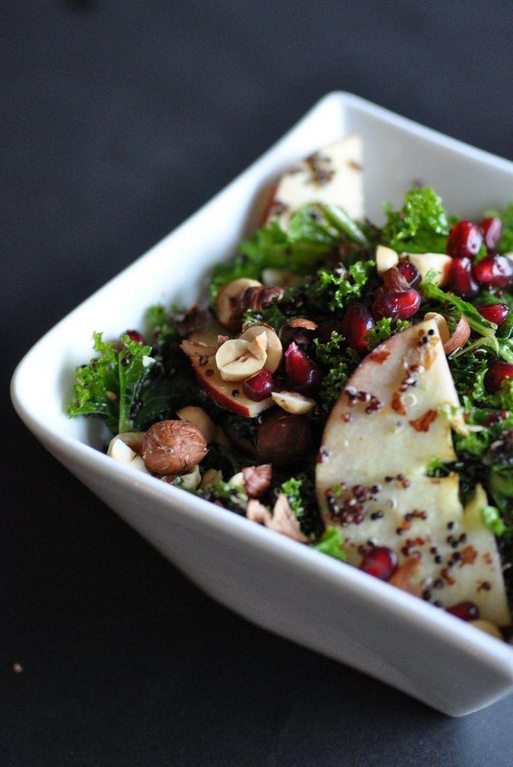 Black Quinoa Kale Salad with Toasted Hazelnuts