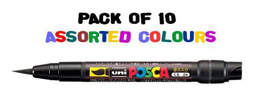 Uni POSCA PCF-350 Brush Tip - Pack of 10 Assorted Colours
