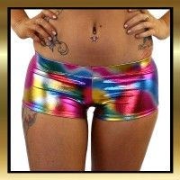 Multi coloured metallic full cut shorts with an elasticated wasitband. Matching tops available in store. Great for Pole Dancing, Burlesque, Yoga