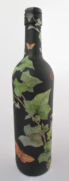 Butterfly Wine Bottle, Decorated Wine Bottle, Wine Bottle Decor, Glass Bottles, Painted Bottles, Decorated Bottles,Decoupage Bottle,Bottles - pinned by pin4etsy.com