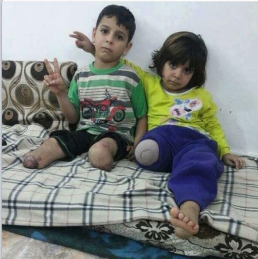 la cruel réalité de la guerre !  Ici en Syrie , soutenue par l'Occident