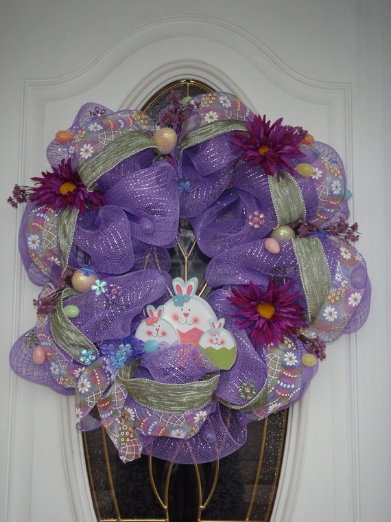 Deco Mesh Spring Easter Wreath for sale