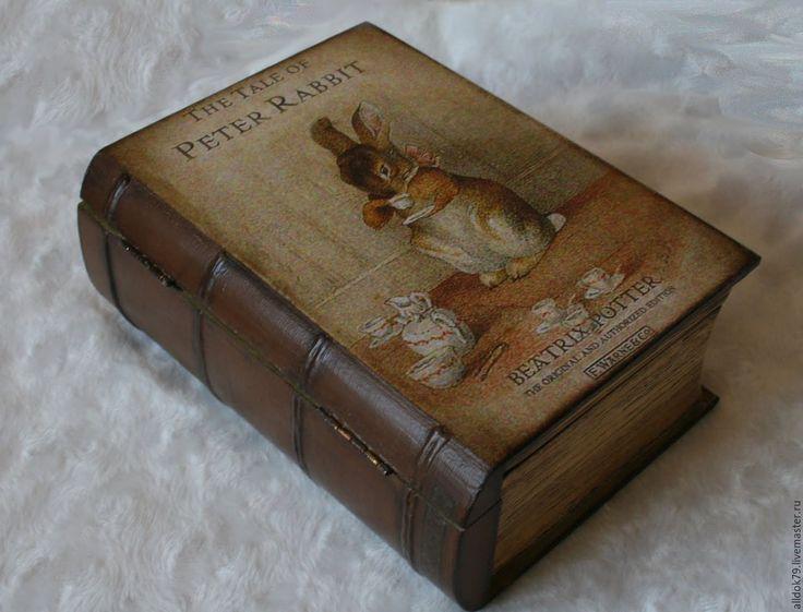 "Купить Шкатулка - книга ""Кролик Питер"" - Декупаж, шкатулка, винтажный стиль, шкатулка в подарок, handmade"