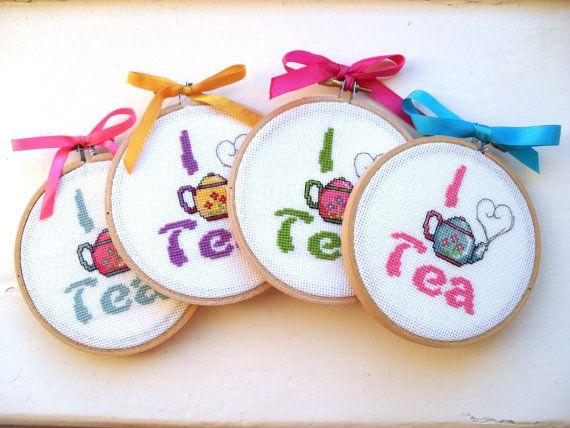 I Love Tea framed cross stitch by YellowSherbet on Etsy, £12.00
